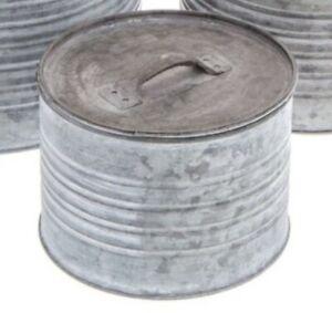 Round Galvanized Metal Box Set with Lids. SMALL