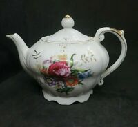 Vintage Royal Sealy Porcelain Musical Teapot Flowers Plays Tea For Two Japan