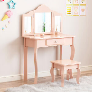 Dressing Table&Stool Set Folding Mirrors Kids Girl Vanity Set Wooden Makeup Desk
