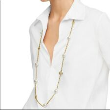 Tory Burch Evie Logo Chain Extra Long Station Pearl Necklace