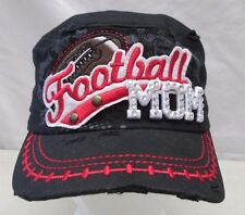 Football Mom Jewel Bling Cap Ladies Womans Fashion Hat Black Leader Loga
