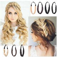 Women Fashion Hair Plaited Elastic Headbands Braided Hair Bands Accessories DIY