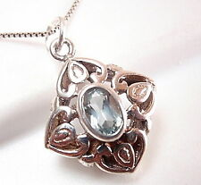 Blue Topaz Pendant Small Faceted 925 Sterling Silver Floral Filigree Style New