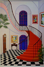 FANCH LEDAN INTERIOR WITH RED STAIRCASE SERIGRAPH SIGNED #418/450 W/COA 23X34