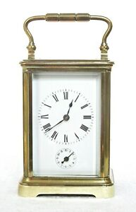 ANTIQUE GILT BRASS FRENCH CARRIAGE CLOCK WITH ALARM, WORKING WELL