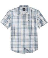 Quiksilver Mens Shirt Silver Blue Size Medium M Snap Jam Plaid Button Up $52 069