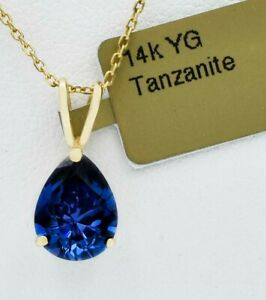 AAA TANZANITE  2.06 Cts PENDANT 14K YELLOW GOLD * MADE IN USA * New With Tag
