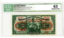 Costa Rica … P-190 … 1 Colon … 23-June-1943 … Ch*UNC*