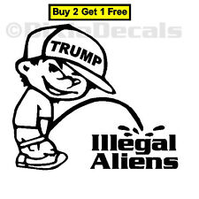 "6"" TRUMP 2016 Calvin Pee Piss on Illegal Aliens Anti Immigration Window Decal"