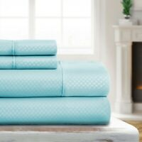 Luxury Ultra Soft Checkered Embossed Sheet Set by Sharon Osbourne Home