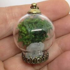 Metaphysical TERRARIUM BUBBLE GLASS PENDANT NECKLACE Clear Quartz