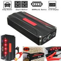80000mAh AUTO AVVIATORE Jump Starter Booster 600A Caricabatterie 4 USB Emergenza