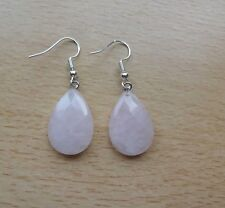 Lovely simple faceted ROSE QUARTZ  gemstone  EAR RINGS St Silver Gift wrapped