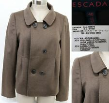 Escada Women's Double Breasted Coat Size 40 Angora Camelhair Wool Brown