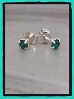 Boucles D'oreilles Puces Oz Émeraude 4 MM Argent massif 925/1000 Bijoux