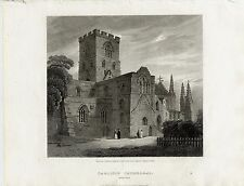 1814 Print;  View of Carlisle Cathedral, Cumbria,
