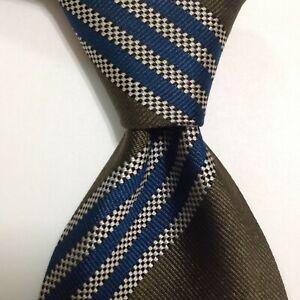 ERMENEGILDO ZEGNA Men's 100% Silk Necktie ITALY Luxury STRIPED Green/Blue GUC