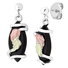 Black Hills Gold onyx earrings womens ladies .925 sterling silver post dangle