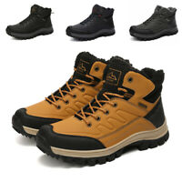 Mens Leather Winter Hiking Shoes Waterproof Outdoor Snow Warm Fur Inside Boots