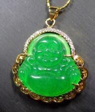 Gold Plate JADE Pendant guanyin Kwan yin 观音Necklace Diamond Imitation 291204 US