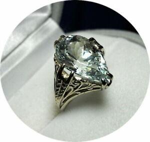 AQUAMARINE Ring - Pear Cut - 4.45 CT - Vintage 14k White Gold Mounting