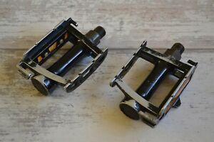 """Vintage SR SP-250 Flat Pedals Pair 9/16"""" Black"""