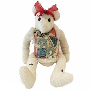 "Vintage Handmade Large Cloth White Teddy Bear Stuffed Animal Doll  31"""