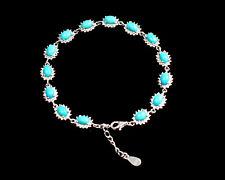 Oval Natural Turquoise Gemstone 925 Sterling Silver December Birthstone Bracelet