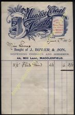 More details for 1906 macclesfield manhu cereal foods advert on bower & son, chemist billhead