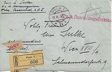 Reko Brief K.u.K. Marinefeldpostamt POLA 18.II.1918 ( Briefstück )