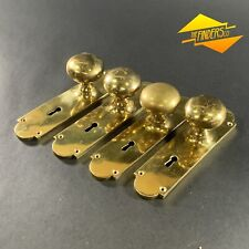 LOT X4 VINTAGE SOLID BRASS SPRUNG DOOR HANDLES KNOBS SETS FEDERATION COLONIAL