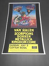 Texxas World Music Festival Texas Jam 1988 Poster Van Halen Scorpions Metallica