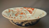 "Large Antique Imari Genroku period Kinran Porcelain Bowl 15 1/8"" Japanese Art"