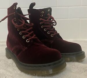 Dr. Martens - Page Cherry Red Rouge (Velvet) - Women's Size 6 - Only Worn Once