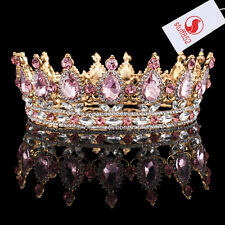 Baroque Crystal Queen Crown Tiara Classic Rhinestone Full Fashion Pink Gold