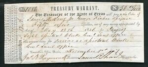 1847 $50 FIFTY DOLLARS TREASURY WARRANT THE TREASURER OF THE SATE OF TEXAS
