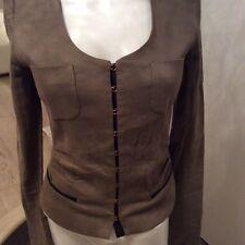 Giacca pinko TG 40 color beage scuro e profilata in ecopelle ottima vestibilita