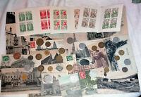 lot multicollection France : 25 monnaies -25 cartes postales -3 carnets croix ro