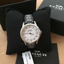 NIB 14501524 AUTHENT Coach Classic Signature Black Leather Monogram Silver Watch