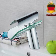 Glas Wasserfall Armatur Badezimmer Einzelhahn Waschtisch Mischbatterie Platz Neu