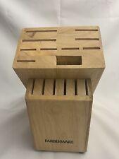 Farberware 16 Labeled Slots Wooden Knife Block No Knifes w/ Sharpener & Scissors