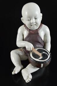 #5159: XF Japan Old Kutani-ware Colored porcelain DOLL Statue Figurines Okimono