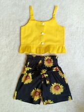 Charming Sunflower Shorts Outfit Set for Baby Girl 12-18 Months