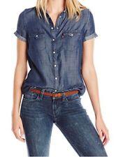 Levi's Woman's Western Short Sleeve Shirt Ocean Blue Size XL