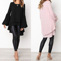 ZANZEA 8-24 Women Long Sleeve Tunic Top Tee T Shirt High Low Bell Sleeve Blouse