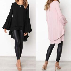 ZANZEA 8-24 Women Long Sleeve Tunic Top Tee T Shirt High Low Bell Sleeve Blouse