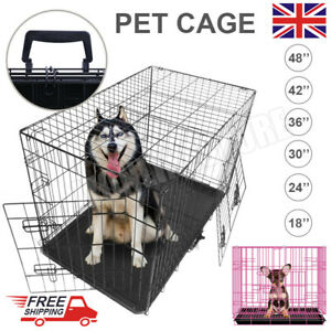 Dog Cage Puppy Pet Crate Carrier - S M L XL XXL Metal Foldable Door Trainning UK
