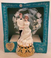 Vtg 60s Wedding Cake Topper Bride & Groom Coast Novelty Box Brown Hair Veil NOS