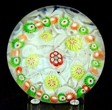 Antique ST LOUIS Glass GARLAND Millefiori w Upset MUSLIN Underlay PAPERWEIGHT