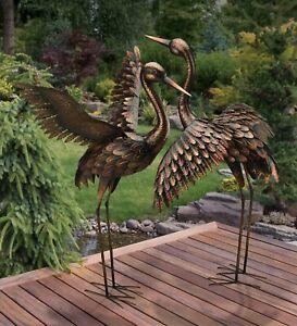 Large Bronze Patina Flying Crane Pair Sculpture Heron Bird Metal Yard Art